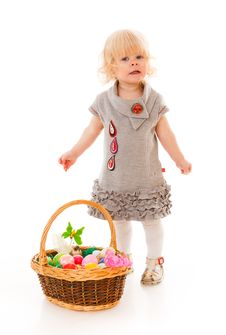 Free Little Girl With Easter Eggs Stock Image - 18901511