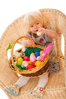 Free Little Girl With Easter Eggs Stock Photo - 18901540