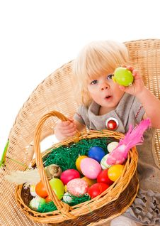 Free Little Girl With Easter Eggs Royalty Free Stock Photo - 18901565