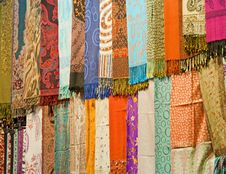 Free Fabrics At A Market Stall Royalty Free Stock Image - 18902256