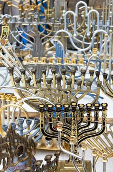 The Jewish Holiday Candlesticks Background. Royalty Free Stock Photos