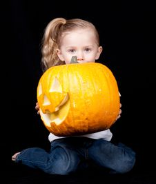 Free Kneeling Pumpkin Royalty Free Stock Images - 18902579