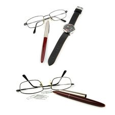 Free Glasses, Pen, Watch And Paper-clip. Stock Photos - 18902813