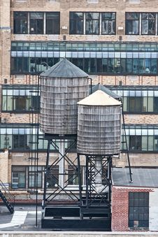 Rooftop Water Towers On NYC Buildings Royalty Free Stock Image