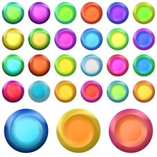 Free Buttons Round Shining, Set Royalty Free Stock Image - 18904576