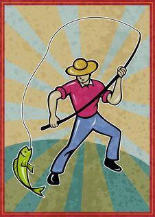 Free Fisherman Fishing Catching Fish Stock Images - 18904834