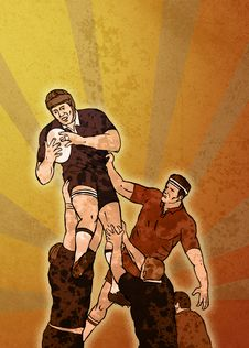 Free Rugby Player Catching Ball Lineout Stock Photos - 18904853