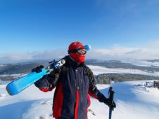 Skier Looks On A Mountain Stock Photography