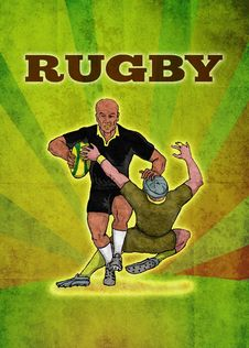 Rugby Player Running Attacking With Ball Stock Photo