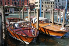 Free Two New Boats Made Fast On Grand Canal, Venice Royalty Free Stock Image - 18905296