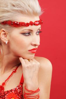 Free Beautiful Women Dream On Red Royalty Free Stock Photo - 18906555