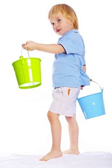 Little Boy Holding Two Buckets Royalty Free Stock Image