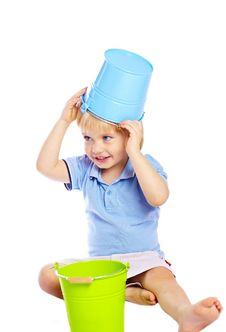 Little Boy Holding Two Buckets Stock Images