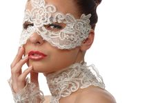Tender Face In Lace Mask Over Her Eyes Stock Photo