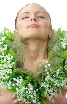 Pretty Naked Woman In Flowers Chaplet Stock Photos