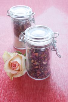 Free Dried Rose Petals In A Jar Stock Photo - 18907620
