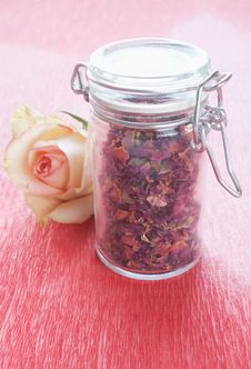 Dried Rose Petals In A Jar Stock Photo