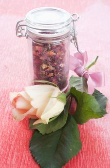 Dried Rose Petals In A Jar Royalty Free Stock Image