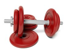 Free Red Dumbbell Stock Image - 18907821