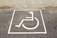 Free Disabled Sign On Street Royalty Free Stock Image - 18909666