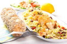 Free Fish With Rice And Vegetables Stock Images - 18909734