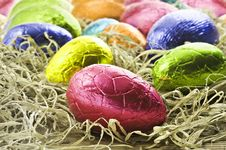 Free Colorful Easter Eggs In Straw Stock Image - 18909791