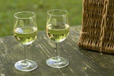 Free Picnic Table With Wineglass Royalty Free Stock Photography - 18909837