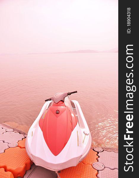Lakeside motorboat