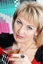 Free The Blonde Holds A Drink With Ice. Royalty Free Stock Photography - 18910287