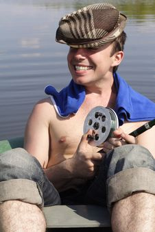 The Young Man On Fishing Stock Images