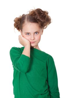 Free Bored Girl With Teethahce Royalty Free Stock Photography - 18911787