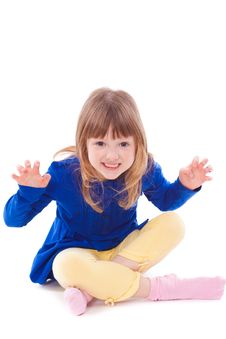 Free Blonde Funny Scaring Little Girl Sitting Royalty Free Stock Photography - 18911807