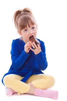 Free Hungry Little Girl Eating Cake Stock Photography - 18911812