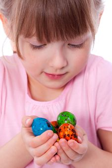 Cute Girl With Easter Eggs At Hands Royalty Free Stock Photo