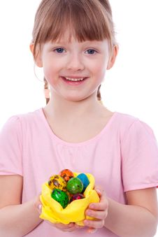 Smiling Girl With Easter Eggs At Hands Royalty Free Stock Image