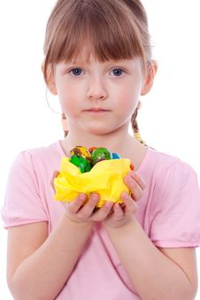 Cute Girl With Easter Eggs At Hands Royalty Free Stock Photography