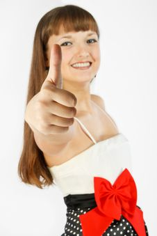 Beautiful Fashion Girl Showing Thumb Up Stock Images