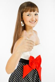 Beautiful Fashion Girl Showing Thumb Up Stock Photo