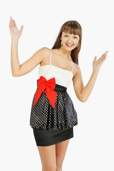 Beautiful Fashion Girl Rejoices With Her Hands Up Stock Image