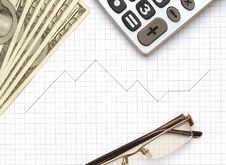 Free Eyeglass, Calculator And The Working Paper Royalty Free Stock Image - 18913816