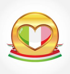 Gold Metal With Flag Of Italy Stock Photos