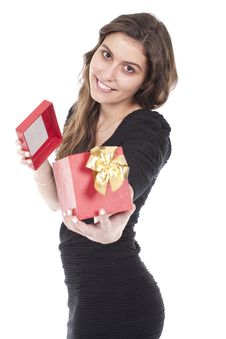 Woman Holding A Gift Red Box Stock Photo