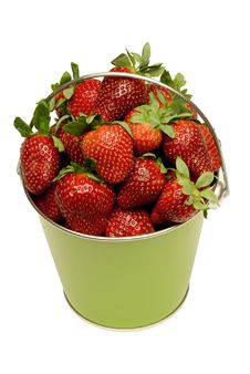 Pail Full Of Fresh Strawberries Royalty Free Stock Image
