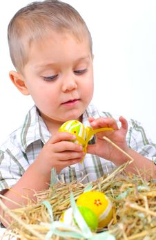 Free Little Boy With Easter Eggs In Basket Stock Photo - 18914910