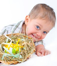 Free Little Boy With Easter Eggs In Basket Royalty Free Stock Photography - 18914927
