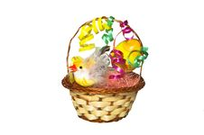 Chicken In A Nest With Flowers Stock Image