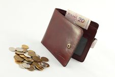 Free Wallet And Coins. Royalty Free Stock Photography - 18916797