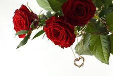 Free Rose Bouquet And Gold Heart On White Background. Stock Image - 18916811