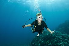Free Young Boy Has Fun Ona Scuba Dive Stock Photo - 18916980