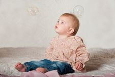 Free Baby With Bubbles Stock Images - 18917114